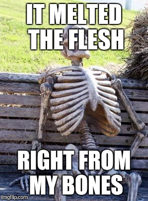 Waiting Skeleton Meme | IT MELTED THE FLESH RIGHT FROM MY BONES | image tagged in memes,waiting skeleton | made w/ Imgflip meme maker