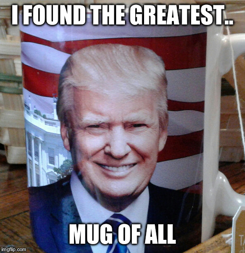 Greatest Mug of All | I FOUND THE GREATEST.. MUG OF ALL | image tagged in donald trump | made w/ Imgflip meme maker