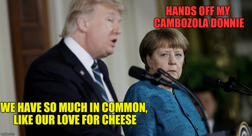 WE HAVE SO MUCH IN COMMON, LIKE OUR LOVE FOR CHEESE HANDS OFF MY CAMBOZOLA DONNIE | made w/ Imgflip meme maker