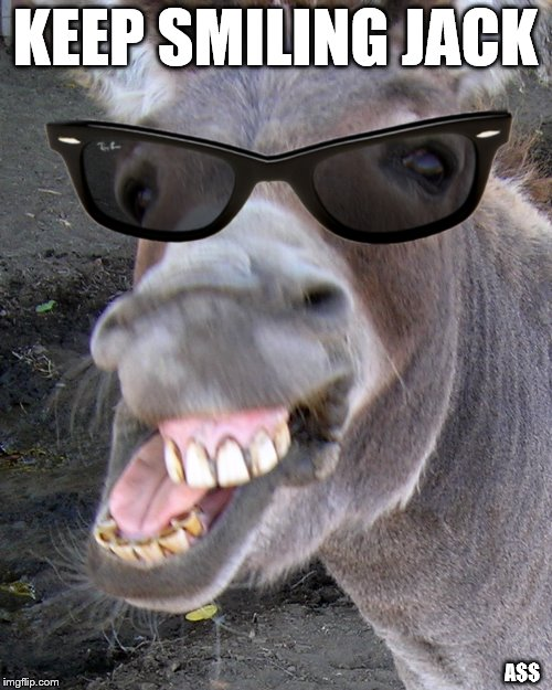 Deal with it Donkey  | KEEP SMILING JACK A$$ | image tagged in deal with it donkey | made w/ Imgflip meme maker