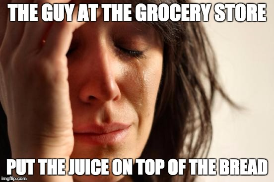 And he looked so capable while he did it | THE GUY AT THE GROCERY STORE PUT THE JUICE ON TOP OF THE BREAD | image tagged in memes,first world problems | made w/ Imgflip meme maker