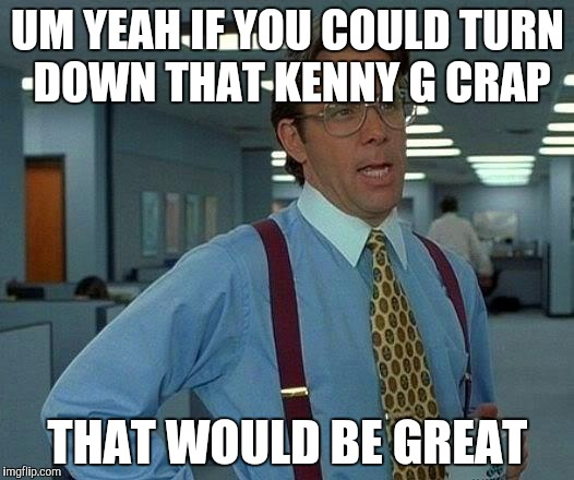That Would Be Great Meme | UM YEAH IF YOU COULD TURN DOWN THAT KENNY G CRAP THAT WOULD BE GREAT | image tagged in memes,that would be great | made w/ Imgflip meme maker