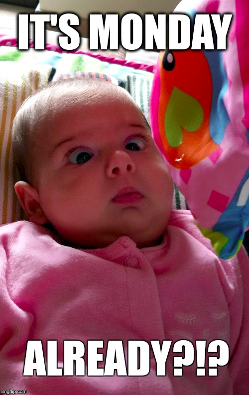 surprised monday | IT'S MONDAY ALREADY?!? | image tagged in funny baby,it's monday,monday's,monday morning,monday face,surprised baby | made w/ Imgflip meme maker
