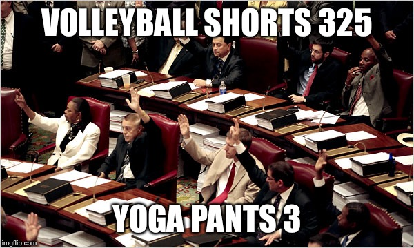 VOLLEYBALL SHORTS 325 YOGA PANTS 3 | made w/ Imgflip meme maker