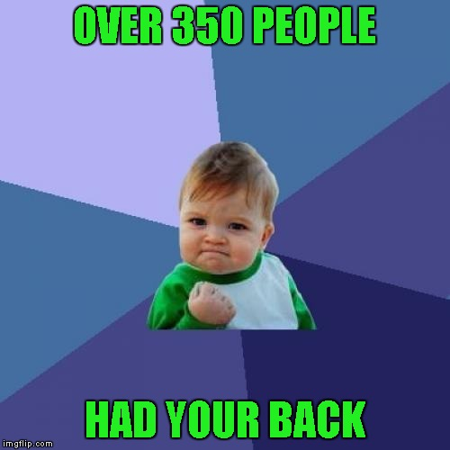 Success Kid Meme | OVER 350 PEOPLE HAD YOUR BACK | image tagged in memes,success kid | made w/ Imgflip meme maker