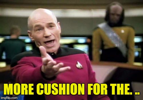Picard Wtf Meme | MORE CUSHION FOR THE. .. | image tagged in memes,picard wtf | made w/ Imgflip meme maker