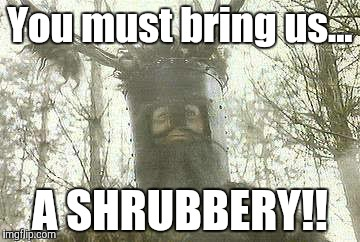 You must bring us... A SHRUBBERY!! | made w/ Imgflip meme maker