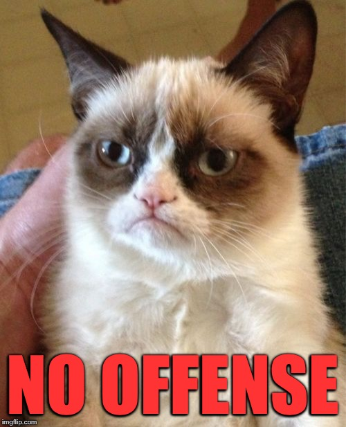 Grumpy Cat Meme | NO OFFENSE | image tagged in memes,grumpy cat | made w/ Imgflip meme maker