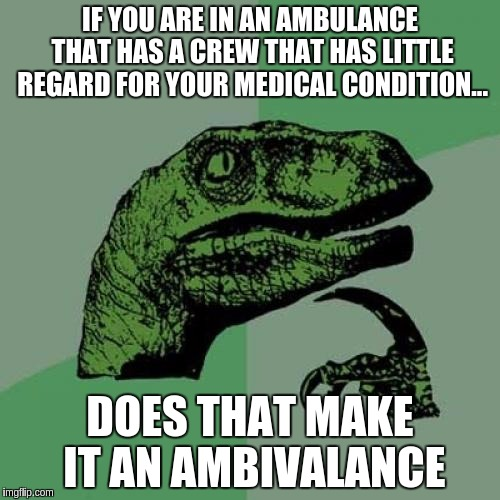 Philosoraptor | IF YOU ARE IN AN AMBULANCE THAT HAS A CREW THAT HAS LITTLE REGARD FOR YOUR MEDICAL CONDITION... DOES THAT MAKE IT AN AMBIVALANCE | image tagged in memes,philosoraptor | made w/ Imgflip meme maker