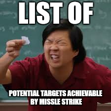 LIST OF POTENTIAL TARGETS ACHIEVABLE BY MISSLE STRIKE | made w/ Imgflip meme maker