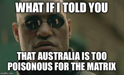 Matrix Morpheus Meme | WHAT IF I TOLD YOU THAT AUSTRALIA IS TOO POISONOUS FOR THE MATRIX | image tagged in memes,matrix morpheus | made w/ Imgflip meme maker