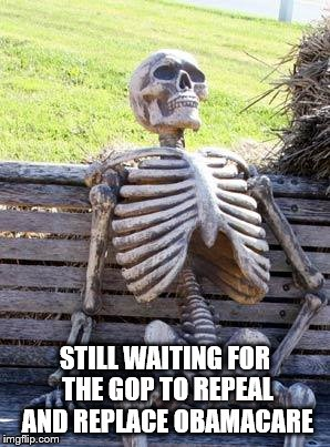 Waiting Skeleton | STILL WAITING FOR THE GOP TO REPEAL AND REPLACE OBAMACARE | image tagged in memes,waiting skeleton | made w/ Imgflip meme maker
