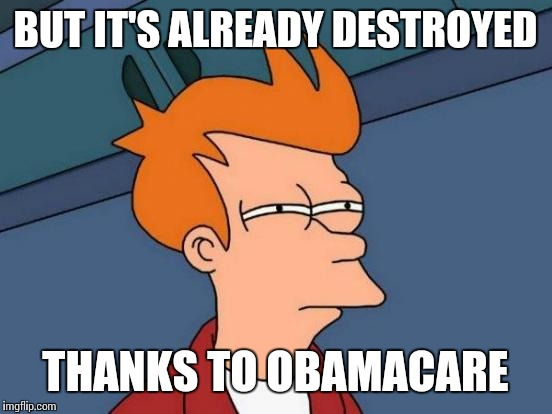 Futurama Fry Meme | BUT IT'S ALREADY DESTROYED THANKS TO OBAMACARE | image tagged in memes,futurama fry | made w/ Imgflip meme maker