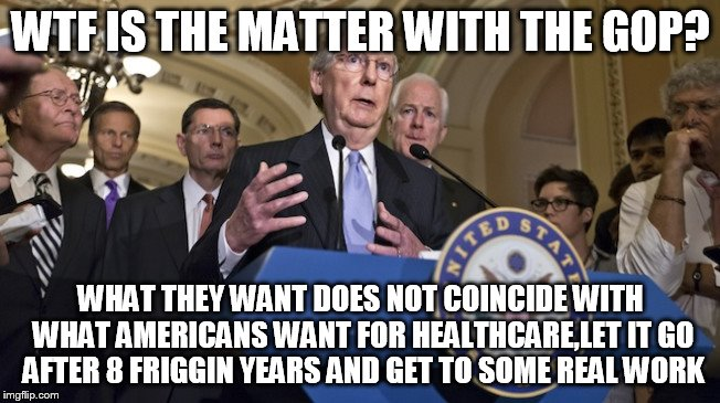 Republican senators | WTF IS THE MATTER WITH THE GOP? WHAT THEY WANT DOES NOT COINCIDE WITH WHAT AMERICANS WANT FOR HEALTHCARE,LET IT GO AFTER 8 FRIGGIN YEARS AND | image tagged in republican senators | made w/ Imgflip meme maker