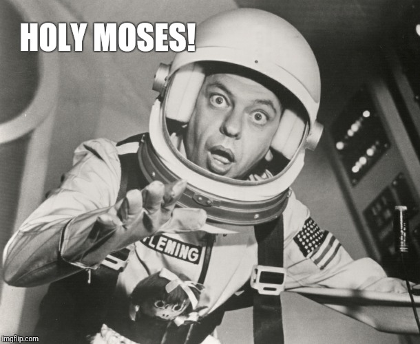 Don Knotts, Reluctant Astronaut afloat,,, | HOLY MOSES! | image tagged in don knotts,reluctant astronaut afloat | made w/ Imgflip meme maker