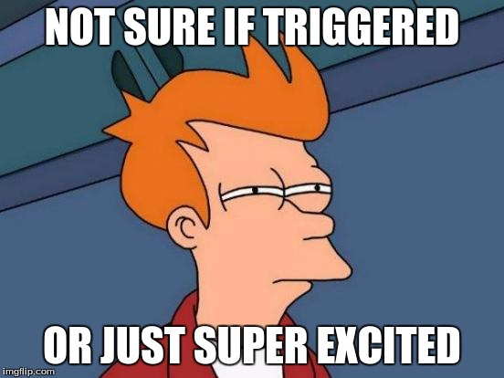 Futurama Fry Meme | NOT SURE IF TRIGGERED OR JUST SUPER EXCITED | image tagged in memes,futurama fry | made w/ Imgflip meme maker