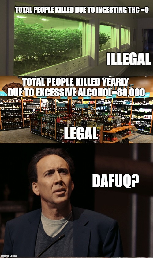Rick and Carl 3 |  TOTAL PEOPLE KILLED DUE TO INGESTING THC =0; ILLEGAL; TOTAL PEOPLE KILLED YEARLY DUE TO EXCESSIVE ALCOHOL=88,000; LEGAL; DAFUQ? | image tagged in memes,rick and carl 3,scumbag | made w/ Imgflip meme maker