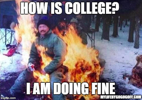LIGAF Meme | HOW IS COLLEGE? I AM DOING FINE MYLIFEBYGOGOGOFF.COM | image tagged in memes,ligaf | made w/ Imgflip meme maker
