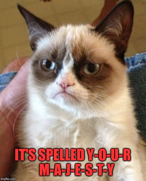 Grumpy Cat Meme | IT'S SPELLED Y-O-U-R   M-A-J-E-S-T-Y | image tagged in memes,grumpy cat | made w/ Imgflip meme maker