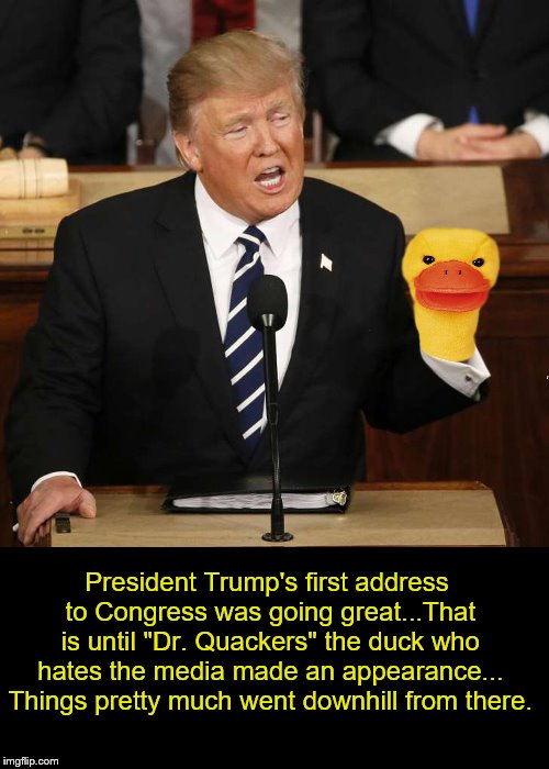 "Cuckoo & Quack-Quack. | President Trump's first address to Congress was going great...That is until ""Dr. Quackers"" the duck who hates the media made an appearance.. 