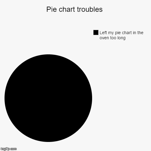 Pie chart troubles | Left my pie chart in the oven too long | image tagged in funny,pie charts | made w/ Imgflip pie chart maker
