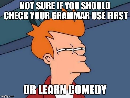Futurama Fry Meme | NOT SURE IF YOU SHOULD CHECK YOUR GRAMMAR USE FIRST OR LEARN COMEDY | image tagged in memes,futurama fry | made w/ Imgflip meme maker