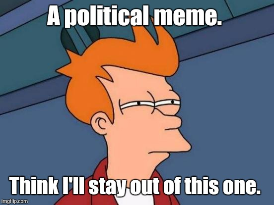 Futurama Fry Meme | A political meme. Think I'll stay out of this one. | image tagged in memes,futurama fry | made w/ Imgflip meme maker