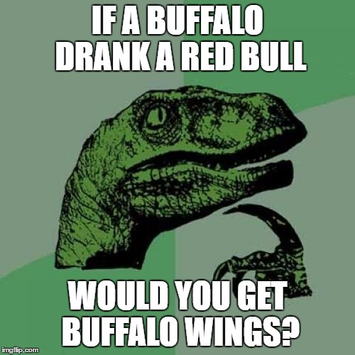Philosoraptor Meme | IF A BUFFALO DRANK A RED BULL WOULD YOU GET BUFFALO WINGS? | image tagged in memes,philosoraptor,redbull,buffalo wings | made w/ Imgflip meme maker