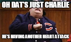 Da Bears | OH DAT'S JUST CHARLIE HE'S HAVING ANOTHER HEART ATTACK | image tagged in da bears | made w/ Imgflip meme maker