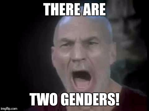 I will not speak your words, I will not utter your lies | THERE ARE TWO GENDERS! | image tagged in picard four lights,transgender | made w/ Imgflip meme maker