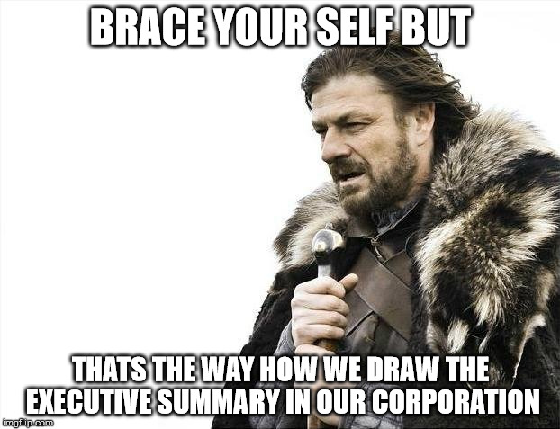 Brace Yourselves X is Coming Meme | BRACE YOUR SELF BUT THATS THE WAY HOW WE DRAW THE EXECUTIVE SUMMARY IN OUR CORPORATION | image tagged in memes,brace yourselves x is coming | made w/ Imgflip meme maker