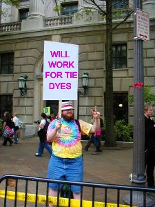 Protester | WILL WORK FOR TIE DYES | image tagged in protester | made w/ Imgflip meme maker