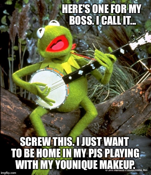 Kermit guitar  | HERE'S ONE FOR MY BOSS. I CALL IT... SCREW THIS. I JUST WANT TO BE HOME IN MY PJS PLAYING WITH MY YOUNIQUE MAKEUP. | image tagged in kermit guitar | made w/ Imgflip meme maker