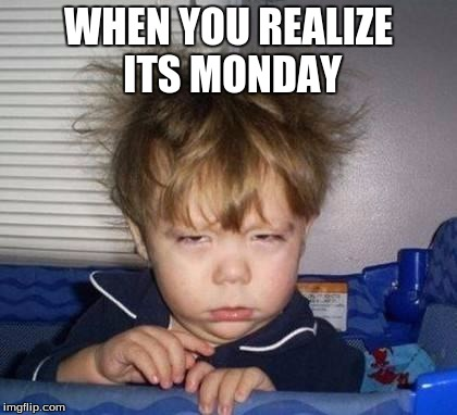 Bed Head Fred | WHEN YOU REALIZE ITS MONDAY | image tagged in bed head fred | made w/ Imgflip meme maker