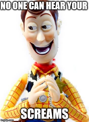 Happy Woody | NO ONE CAN HEAR YOUR SCREAMS | image tagged in happy woody | made w/ Imgflip meme maker