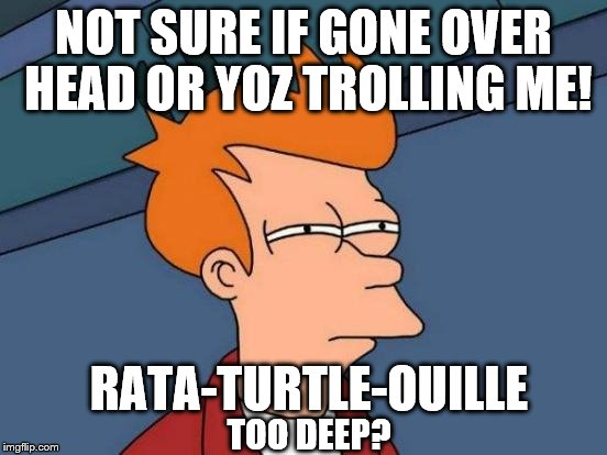 Futurama Fry Meme | NOT SURE IF GONE OVER HEAD OR YOZ TROLLING ME! RATA-TURTLE-OUILLE TOO DEEP? | image tagged in memes,futurama fry | made w/ Imgflip meme maker