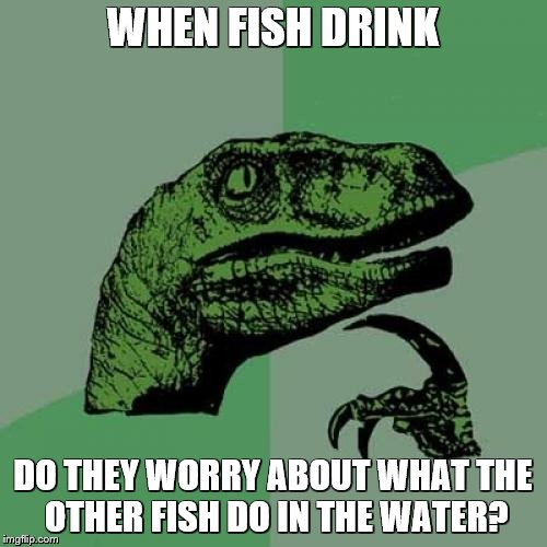 Philosoraptor Meme | WHEN FISH DRINK DO THEY WORRY ABOUT WHAT THE OTHER FISH DO IN THE WATER? | image tagged in memes,philosoraptor | made w/ Imgflip meme maker