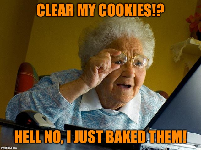Gramma just made cookies | CLEAR MY COOKIES!? HELL NO, I JUST BAKED THEM! | image tagged in memes,grandma finds the internet,cookies | made w/ Imgflip meme maker