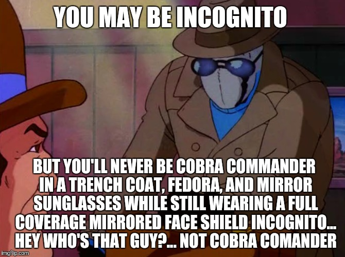 Incognito |  YOU MAY BE INCOGNITO; BUT YOU'LL NEVER BE COBRA COMMANDER IN A TRENCH COAT, FEDORA, AND MIRROR SUNGLASSES WHILE STILL WEARING A FULL COVERAGE MIRRORED FACE SHIELD INCOGNITO... HEY WHO'S THAT GUY?... NOT COBRA COMANDER | image tagged in gi joe | made w/ Imgflip meme maker