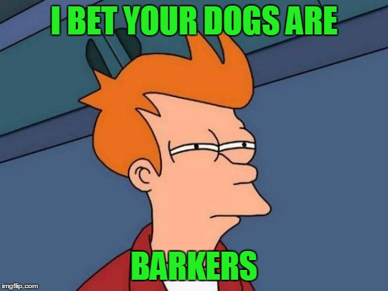 Futurama Fry Meme | I BET YOUR DOGS ARE BARKERS | image tagged in memes,futurama fry | made w/ Imgflip meme maker