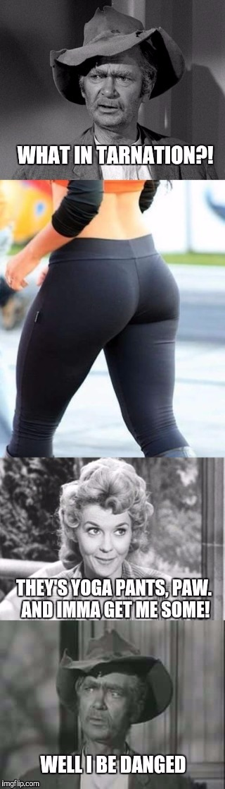Had to throw a what in tarnation meme into yoga pants week!  | . | image tagged in what in tarnation,jed clampett,ellie may clampett,yoga pants week,yoga pants,yoga | made w/ Imgflip meme maker