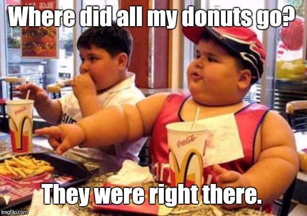 1k1c4p.jpg | Where did all my donuts go? They were right there. | image tagged in 1k1c4pjpg | made w/ Imgflip meme maker