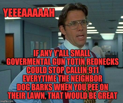 That Would Be Great | YEEEAAAAAH IF ANY Y'ALL SMALL GOVERMENTAL GUN TOTIN REDNECKS COULD STOP CALLIN 911 EVERYTIME THE NEIGHBOR DOG BARKS WHEN YOU PEE ON THEIR LA | image tagged in memes,that would be great | made w/ Imgflip meme maker