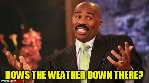 Steve Harvey Meme | HOWS THE WEATHER DOWN THERE? | image tagged in memes,steve harvey | made w/ Imgflip meme maker