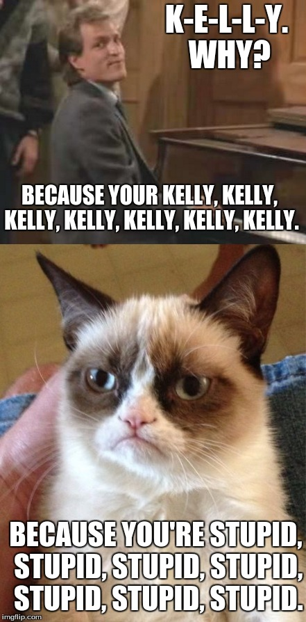 Grumpy Cat Cheers Kelly Song. |  K-E-L-L-Y. WHY? BECAUSE YOUR KELLY, KELLY, KELLY, KELLY, KELLY, KELLY, KELLY. BECAUSE YOU'RE STUPID, STUPID, STUPID, STUPID, STUPID, STUPID, STUPID. | image tagged in grumpy cat,grumpy cat birthday,cheers,woody | made w/ Imgflip meme maker