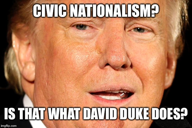 CIVIC NATIONALISM? IS THAT WHAT DAVID DUKE DOES? | made w/ Imgflip meme maker