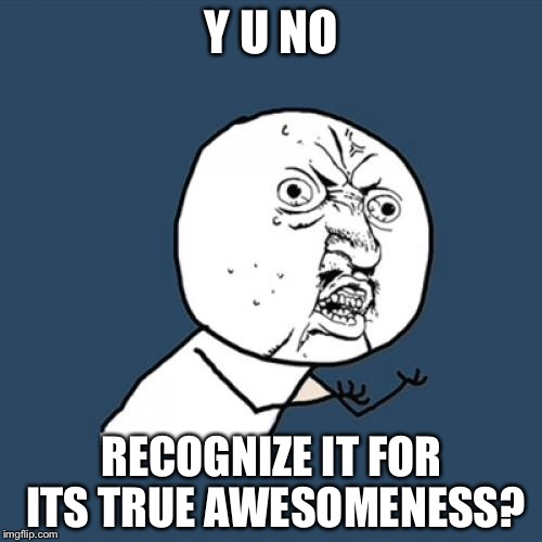 Y U No Meme | Y U NO RECOGNIZE IT FOR ITS TRUE AWESOMENESS? | image tagged in memes,y u no | made w/ Imgflip meme maker