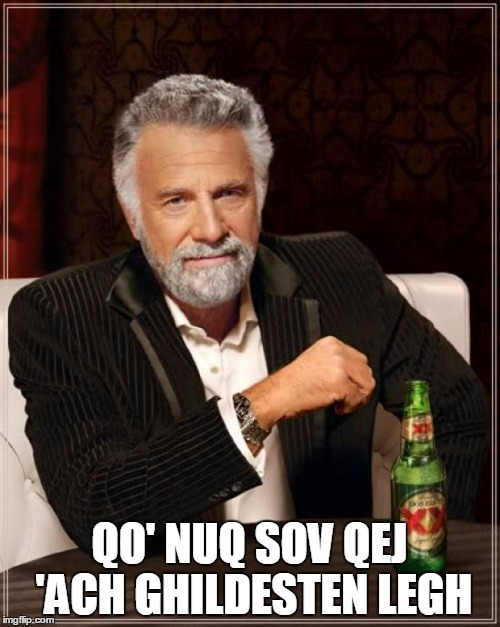 The Most Interesting Man In The World Meme | QO' NUQ SOV QEJ 'ACH GHILDESTEN LEGH | image tagged in memes,the most interesting man in the world | made w/ Imgflip meme maker