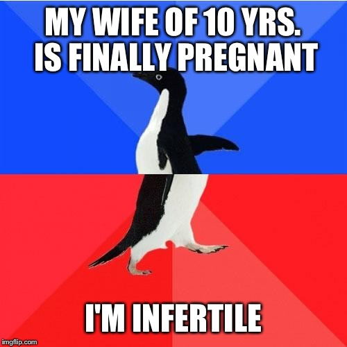 Socially Awkward Awesome Penguin Meme | MY WIFE OF 10 YRS. IS FINALLY PREGNANT I'M INFERTILE | image tagged in memes,socially awkward awesome penguin | made w/ Imgflip meme maker