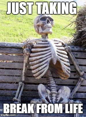 Waiting Skeleton | JUST TAKING BREAK FROM LIFE | image tagged in memes,waiting skeleton | made w/ Imgflip meme maker